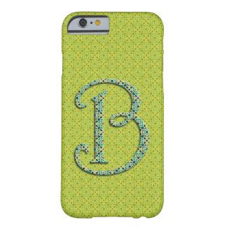 Monograma letra B de mosaico de Marruecos verde Funda De iPhone 6 Barely There