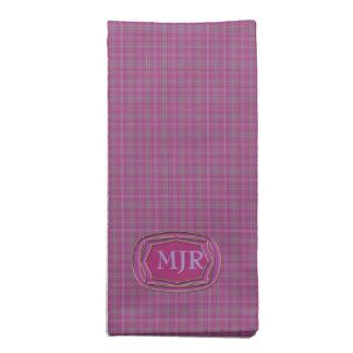 Monograma ligero de la tela escocesa de tartán del servilleta de papel
