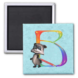Monograma lindo B del mapache del empollón Imán De Frigorífico