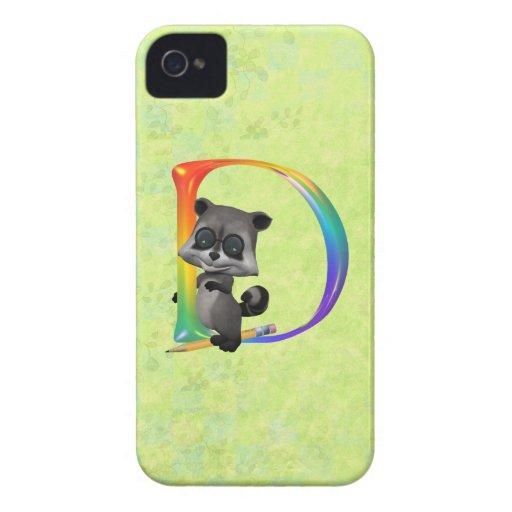 Monograma lindo D del mapache del empollón Case-Mate iPhone 4 Cobertura