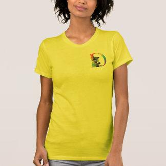 Monograma lindo D del mapache del empollón Camisetas