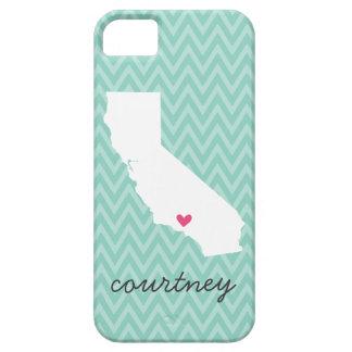 Monograma lindo de Chevron del amor de California Funda Para iPhone SE/5/5s