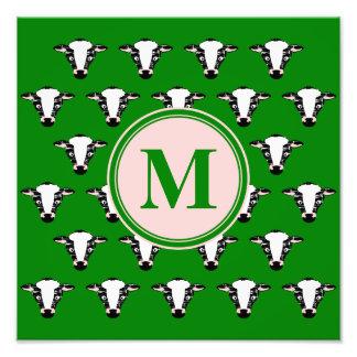 Monograma lindo de la cara de la vaca impresion fotografica