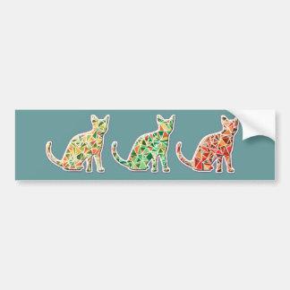 Monograma lindo de los gatos del mosaico retro de pegatina para auto