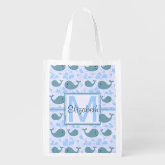 Monograma lindo del modelo de las ballenas azules bolsas para la compra