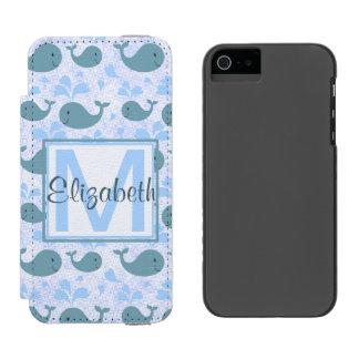 Monograma lindo del modelo de las ballenas azules funda billetera para iPhone 5 watson