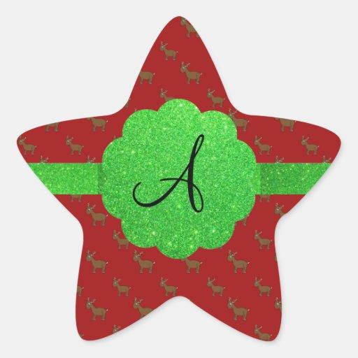 Monograma lindo del reno pegatina en forma de estrella