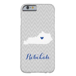 Monograma lindo gris y azul de Chevron del amor de Funda Para iPhone 6 Barely There