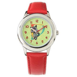 Monograma lindo P del mapache del empollón Relojes