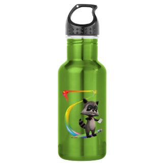 Monograma lindo T del mapache del empollón Botella De Agua