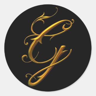 Monograma líquido de G del oro Pegatina Redonda