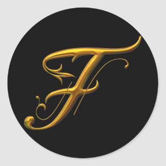 Monograma líquido del oro F Pegatina Redonda
