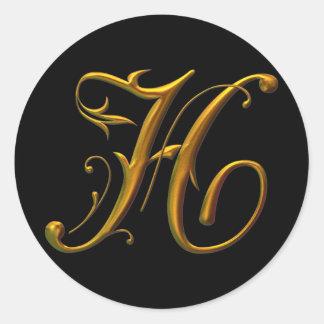 Monograma líquido del oro H Pegatina Redonda