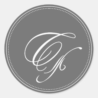 Monograma llano C, color de fondo adaptable Pegatina Redonda