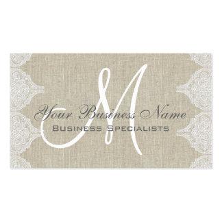 Monograma llano simple del cordón de lino tarjetas de visita