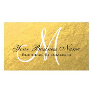 Monograma llano simple gris blanco del oro tarjetas de visita