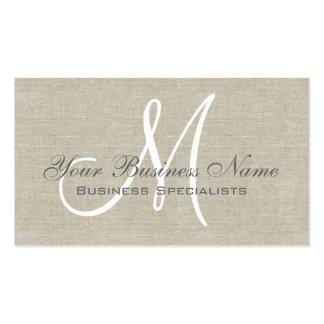Monograma llano simple gris de lino beige tarjetas personales