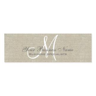 Monograma llano simple gris de lino beige tarjetas de visita mini