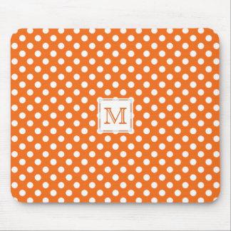 Monograma: Lunar anaranjado y blanco Mousepad Tapete De Ratones