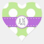 Monograma - lunares, puntos - púrpura blanca verde pegatina de corazon