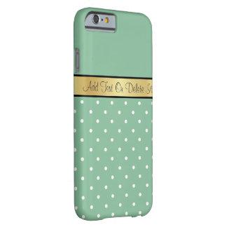 Monograma lunares verdes y blancos de Peapod Funda Para iPhone 6 Barely There