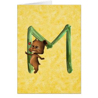 Monograma M de BabyBear Toon Tarjeta De Felicitación