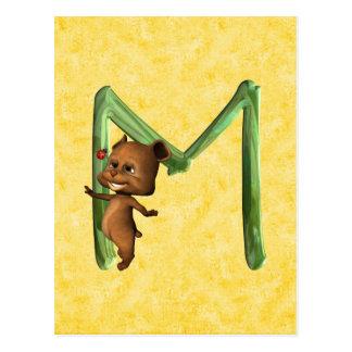 Monograma M de BabyBear Toon Tarjeta Postal