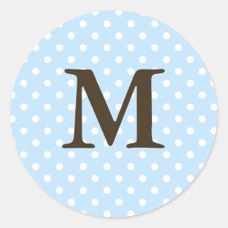 Monograma M de Brown en etiquetas del favor del Pegatina Redonda