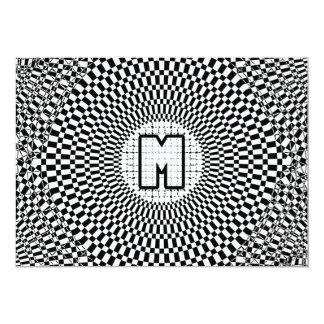 """Monograma M de la ilusión óptica Invitación 5"""" X 7"""""""