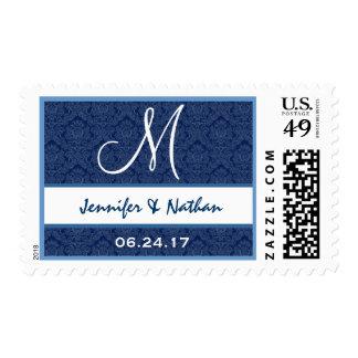 Monograma M de los nombres del boda de los azules Sellos Postales