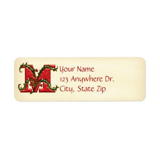 Monograma M del acebo del navidad Etiqueta De Remitente