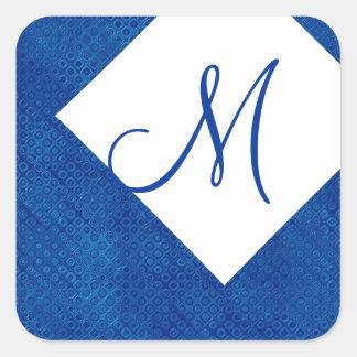Monograma M del azul real y del blanco que casa Pegatina Cuadrada
