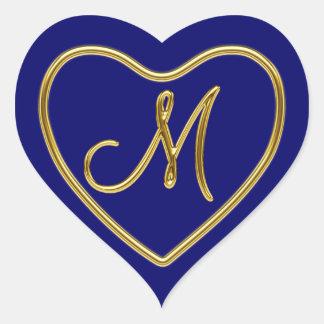 Monograma M en el oro 3D Pegatina En Forma De Corazón
