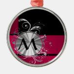 Monograma magenta y de plata ornamentos para reyes magos