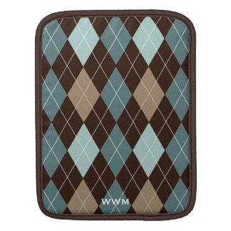 Monograma marrón y azul del modelo de Argyle Fundas Para iPads