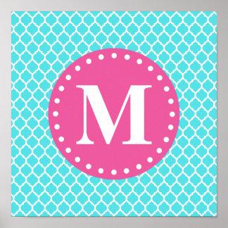 Monograma marroquí azul brillante del rosa del enr posters