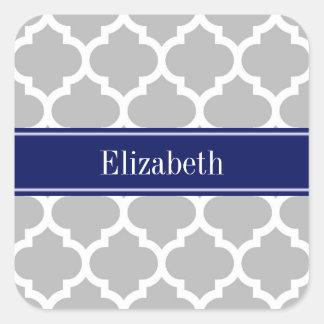 Monograma marroquí del nombre de los azules pegatina cuadrada