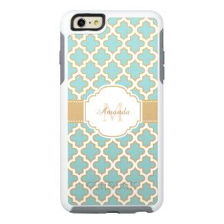 Monograma marroquí elegante del azul del trullo funda otterbox para iPhone 6/6s plus