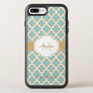 Monograma marroquí elegante del azul del trullo funda OtterBox symmetry para iPhone 7 plus