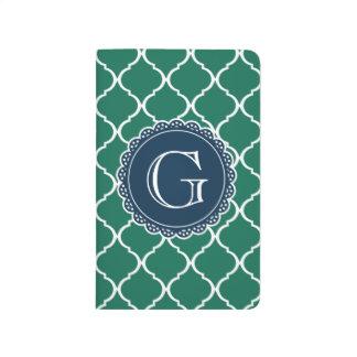Monograma marroquí verde de la marina de guerra cuadernos grapados