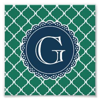 Monograma marroquí verde de la marina de guerra impresión fotográfica