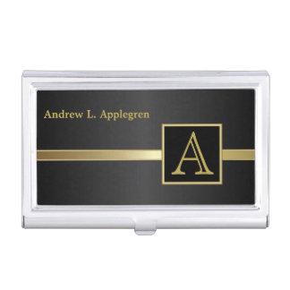 Monograma masculino ejecutivo del estilo el   caja de tarjetas de visita