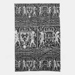 Monograma medieval blanco y negro francés H del mo Toallas De Mano