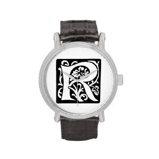 Monograma medieval de la letra R blanco y negro Relojes