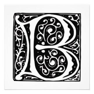 Monograma medieval elegante de la letra B del rena Anuncio Personalizado