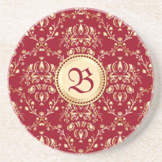 Monograma medieval magnífico del rojo del carmín posavasos para bebidas