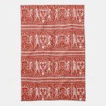 Monograma medieval rojo y blanco francés H del mod Toalla De Mano