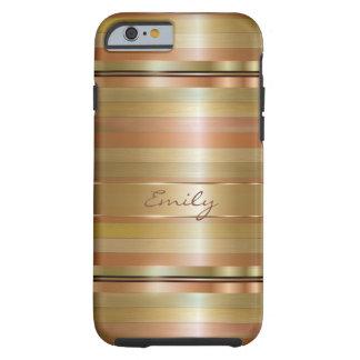 Monograma metálico del modelo de las rayas del oro funda de iPhone 6 tough
