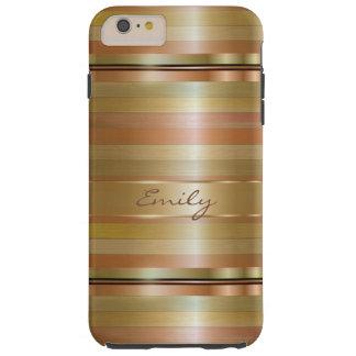 Monograma metálico del modelo de las rayas del oro funda de iPhone 6 plus tough