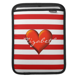 Monograma metálico rojo del corazón de la raya funda para iPads